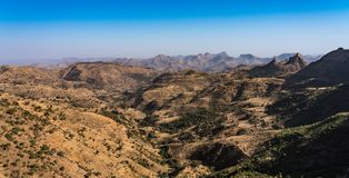 Landscape view of the Simien Mountains National Park in Northern Ethiopia royalty free stock photography