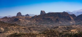 Landscape view of the Simien Mountains National Park in Northern Ethiopia stock photography