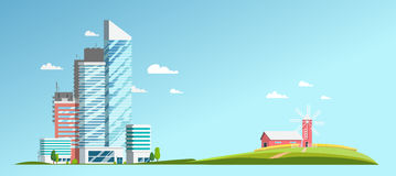 Landscape with a view of the skyscrapers and the farm. Wheat farm. Mill. Wheat field Royalty Free Illustration
