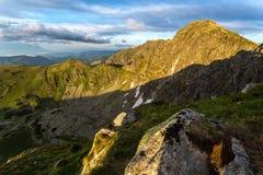 Landscape view on the Slovak mountain Nizke Tatry. Sunrise with dramatic sky Royalty Free Stock Image