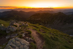 Landscape view on the Slovak mountain Nizke Tatry. Sunrise with dramatic sky Stock Photography