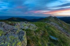 Landscape view on the Slovak mountain Nizke Tatry. Sunrise with dramatic sky Royalty Free Stock Photos