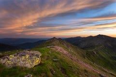 Landscape view on the Slovak mountain Nizke Tatry. Sunrise with dramatic sky Stock Image