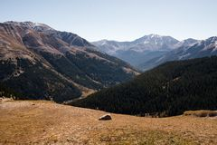 Landscape view of snow capped mountains at Independence Pass near Aspen, Colorado. Landscape view of snow capped mountains at Independence Pass near Aspen royalty free stock images