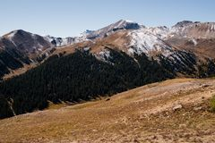 Landscape view of snow capped mountains at Independence Pass near Aspen, Colorado. Landscape view of snow capped mountains at Independence Pass near Aspen stock images