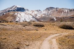 Landscape view of snow capped mountains at Independence Pass near Aspen, Colorado. Landscape view of snow capped mountains at Independence Pass near Aspen royalty free stock photo