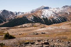 Landscape view of snow capped mountains at Independence Pass near Aspen, Colorado. Landscape view of snow capped mountains at Independence Pass near Aspen stock image