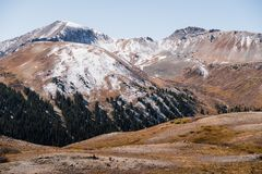 Landscape view of snow capped mountains at Independence Pass near Aspen, Colorado. Landscape view of snow capped mountains at Independence Pass near Aspen stock photo