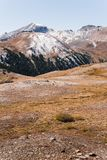 Landscape view of snow capped mountains at Independence Pass near Aspen, Colorado. stock photography