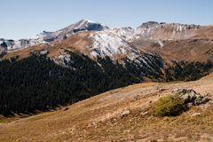 Landscape view of snow capped mountains at Independence Pass near Aspen, Colorado. Landscape view of snow capped mountains at Independence Pass near Aspen stock photos