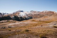 Landscape view of snow capped mountains at Independence Pass near Aspen, Colorado. Landscape view of snow capped mountains at Independence Pass near Aspen royalty free stock image