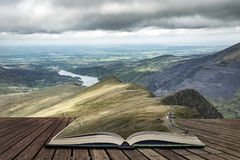 Landscape of Snowdonia from halfway up Mount Snowdon concept com Royalty Free Stock Photo
