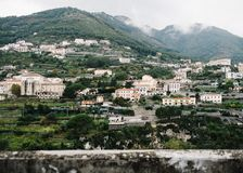 Landscape view of some of the mountain houses in Ravello. Houses build against the hills, mountains in Ravello Italy. Shot on film royalty free stock photography