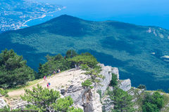 Landscape view of southern Crimea coastline from Ai-Petri mountain. In the sunny day Royalty Free Stock Images