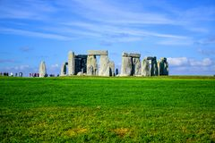 Landscape view of Stonehenge in Salisbury, Wiltshire, England, UK. Landscape view of Stonehenge, a prehistoric stone monument in Salisbury, Wiltshire, England stock photography