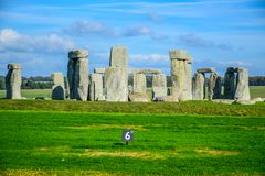 Landscape view of Stonehenge in Salisbury, Wiltshire, England, UK. Landscape view of Stonehenge, a prehistoric stone monument in Salisbury, Wiltshire, England stock images