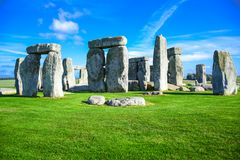Landscape view of Stonehenge in Salisbury, Wiltshire, England, UK. Landscape view of Stonehenge, a prehistoric stone monument in Salisbury, Wiltshire, England royalty free stock images