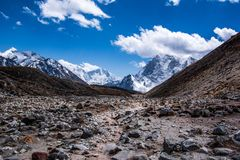 Landscape view of stones around path to Everest Base Camp. royalty free stock image
