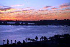 Landscape View of Swan River during Sunset. View of beautiful Swan River with orange sky in western australia Stock Images