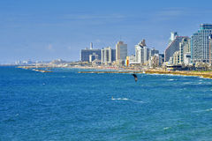 Landscape view of tel Aviv and people on the water Stock Images