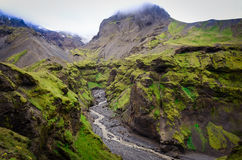 Landscape view of Thorsmork mountains canyon and river, Iceland Stock Photography