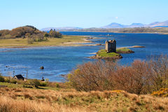 Landscape view to Castle Stalker Stock Photo