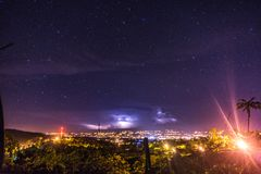 Landscape with view to the electrical storm city ligths in the starry nigth. An electrical storm captured in a starry night with views towards the lights of the royalty free stock photos