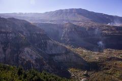 Landscape view to mountains and Kadisha Valley aka Holy Valley , Lebanon royalty free stock image