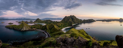 Landscape view from the top of Padar island in Komodo islands, F Royalty Free Stock Photo
