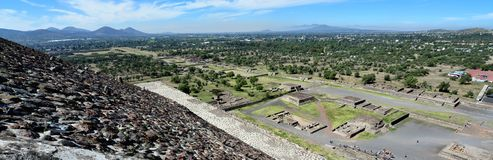 Landscape view from the top of the pyramid of sun in Teotihuacan stock image