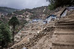 Landscape view of traditional houses on south side of Namche Bazaar. Sagarmatha Everest National Park, Nepal royalty free stock photo