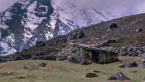 Landscape view of traditional rural stone house in Nepal`s high. Mountains. Sagarmatha Everest National Park, Nepal stock image