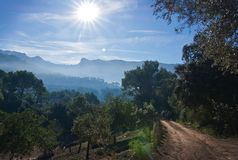 Sunny Mallorca landscape Soller. Landscape view in the Tramuntana mountains near Soller, Mallorca, Spain Stock Photos