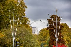 Landscape view of trees in Hyde park with London eye in the background. Daylight, autumn in England royalty free stock photos