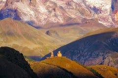 Landscape view of Tsminda Sameba church in Kazbegi, Georgia Royalty Free Stock Photography