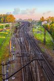 Landscape with a view of the interwoven branches of the railway. Landscape with a view of the twisted branches of the railway in the early morning Royalty Free Stock Photo