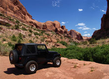Landscape view UTAH - USA. Beautiful Landscape in UTAH  with a jeep in front  - USA Stock Image