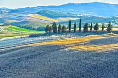 Landscape view of Val d'Orcia, Tuscany, Italy. UNESCO World Heritage Site royalty free stock images