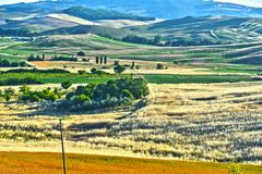 Landscape view of Val d'Orcia, Tuscany, Italy. UNESCO World Heritage Site royalty free stock photography