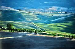 Landscape view of Val d'Orcia, Tuscany, Italy. UNESCO World Heritage Site royalty free stock photos