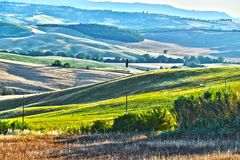 Landscape view of Val d'Orcia, Tuscany, Italy. UNESCO World Heritage Site stock photography