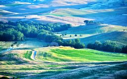 Landscape view of Val d'Orcia, Tuscany, Italy. UNESCO World Heritage Site stock image