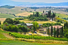 Landscape view of Val d& x27;Orcia, Tuscany, Italy Stock Photography