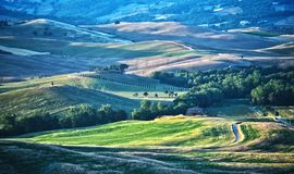 Landscape view of Val d'Orcia, Tuscany, Italy. UNESCO World Heritage Site royalty free stock photo