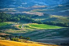 Landscape view of Val d'Orcia, Tuscany, Italy. UNESCO World Heritage Site royalty free stock image