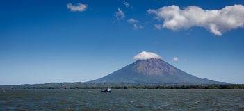 Landscape view of volcano Conception on Ometepe Island, Nicaragua from the water. Royalty Free Stock Image