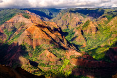 Landscape view of Waimea canyon in daylight with shadows, Kauai. Hawai, USA Stock Photography