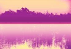 Landscape view wallpaper. Gradient textured paper.Ink splashed artwork. stock illustration