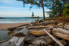Landscape view of the water in the evening pipe with the fire on the horizon, city Bintulu, Borneo, Sarawak, Malaysia. Pantai Tema Stock Photos