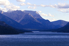 Landscape view of Waterton Lake and Canadian Rockies. Landscape of Waterton Lake and Canadian Rockies in Waterton Lakes National Park in southwest Alberta royalty free stock image
